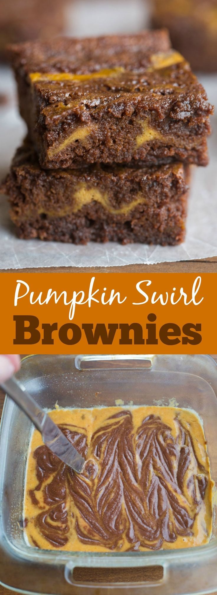 Thick, fudgey homemade brownies (better than a box mix!) with a pumpkin cinnamon…