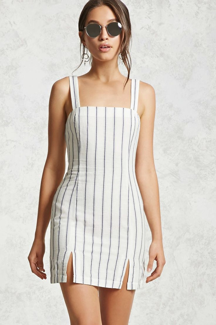 A woven dress featuring an allover striped print, a formfitting silhouette, a straight-cut neckline, a sleeveless cut, front slits, and an exposed back zipper with a pull-ring.