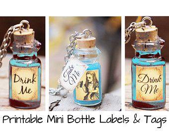 Alice in Wonderland Necklace Mini Bottle Labels - Printable Labels - Mini Bottle Charm Pendant Necklaces 1ml - DIY Jewelry