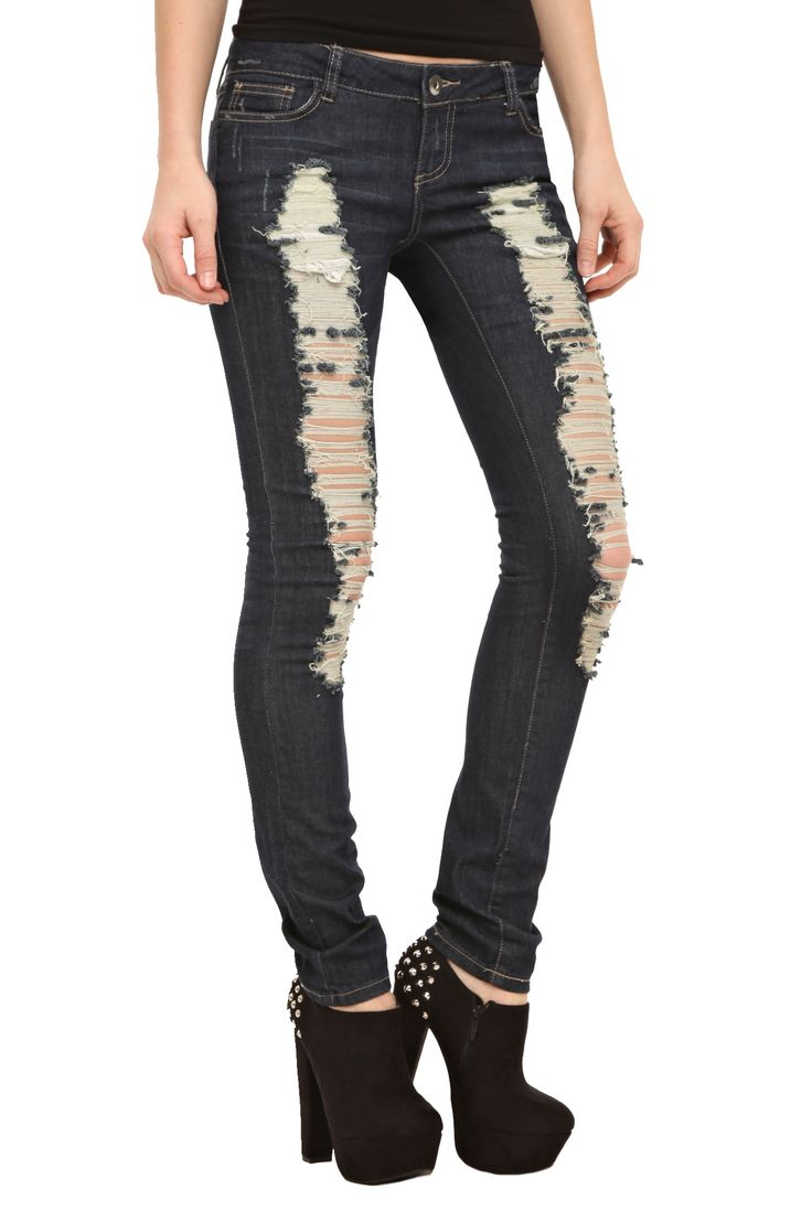 ChiQle Dark Wash Distressed Skinny Jeans   Hot Topic