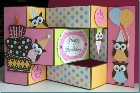 An adorable owl birthday card by shortwizard.blogspot.com