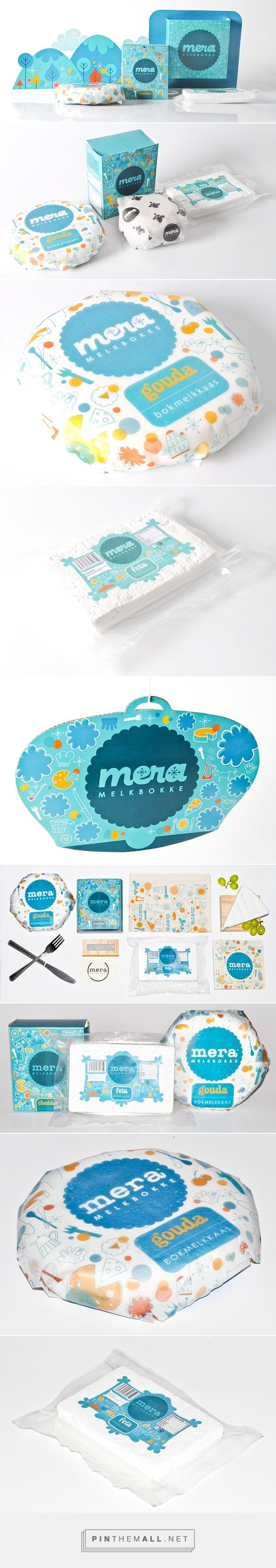 Mera® Goat Cheese Packaging on Behance by Stephan Pretorius Potchefstroom, South Africa curated by Packaging Diva PD. Retro inspired packaging and promotional design for a local goat cheese manufacturer.