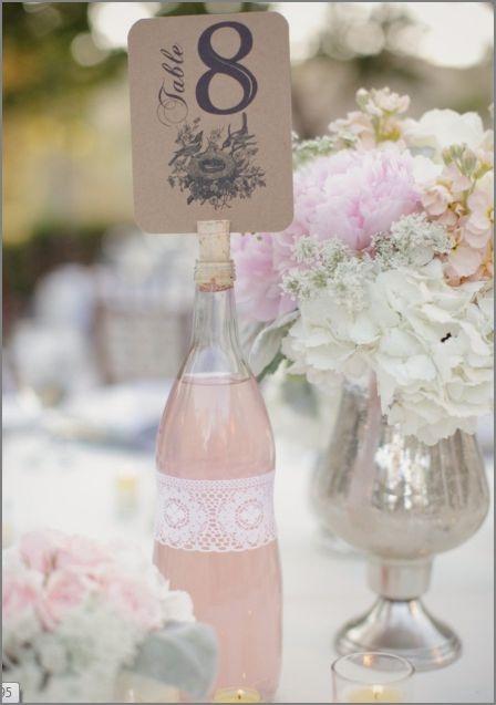 Fyll flasken med en av temafargene, nøytralt bånd og bordnummer