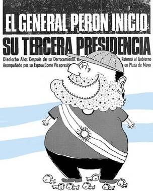 Presidente argentino: Juan Domingo  Perón (1973-1974), por Landrú