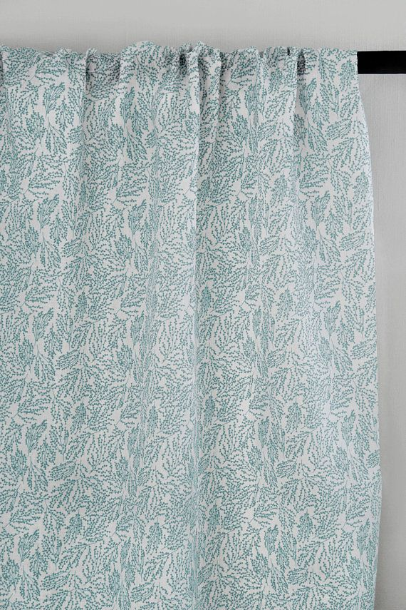 Liza Aqua White Linen Curtain Fabric English Fabric