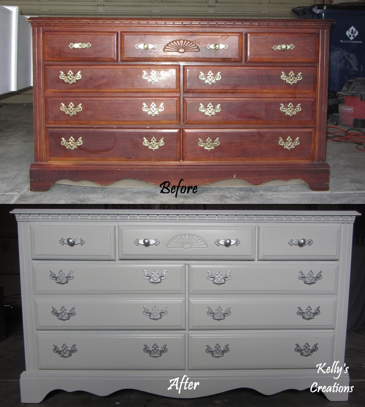 Before and after cherry dresser hand painted in bright white with silver handles.  Refinished by Kelly's Creations. http://www.facebook.com/pages/Kellys-Creations/524028237619793