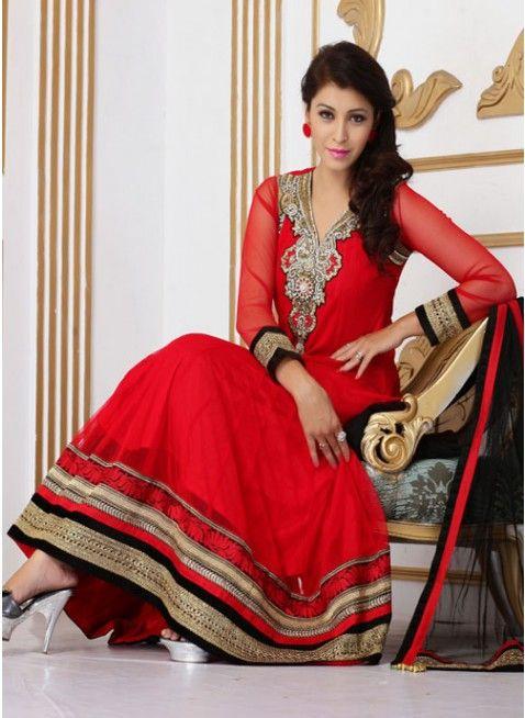 Unique Red Net Embroidered #Salwar_Kameez