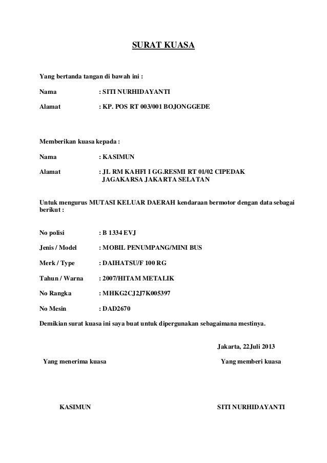 SURAT KUASA  Yang bertanda tangan di bawah ini : Nama  : SITI NURHIDAYANTI  Alamat  : KP. POS RT 003/001 BOJONGGEDE  Membe...