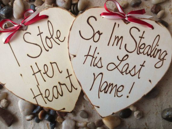 Wedding Photo Props Engagement Photo Props - SET of 2 Wood Hearts Wood Signs For Him and Her - Save the Date