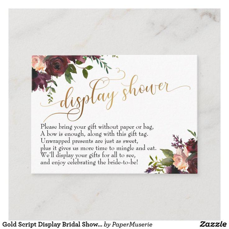 Gold script display bridal shower floral gift card