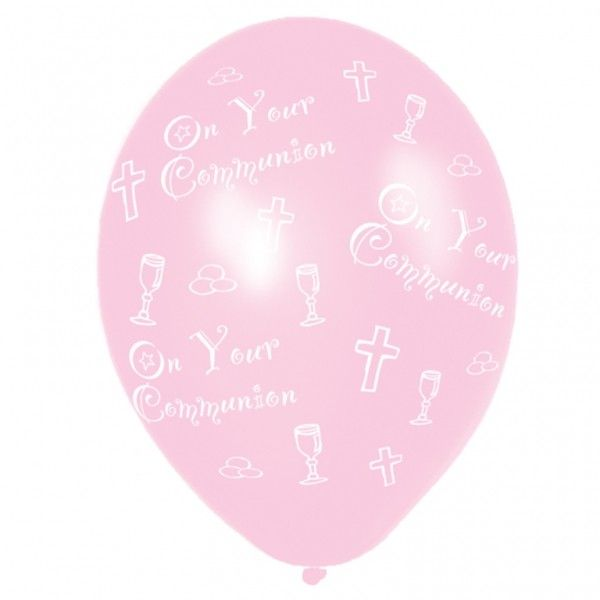 "‪#‎Communion‬ ‪#‎Balloons‬ - Pink Latex - Approx 12"" - 6 per pack - Each of these pretty pink Communion Balloons has First Communion printed in white with little religous symbols - Communion Balloons can be filled with helium or air - Communion Balloons are a great way to decorate for any Communion"
