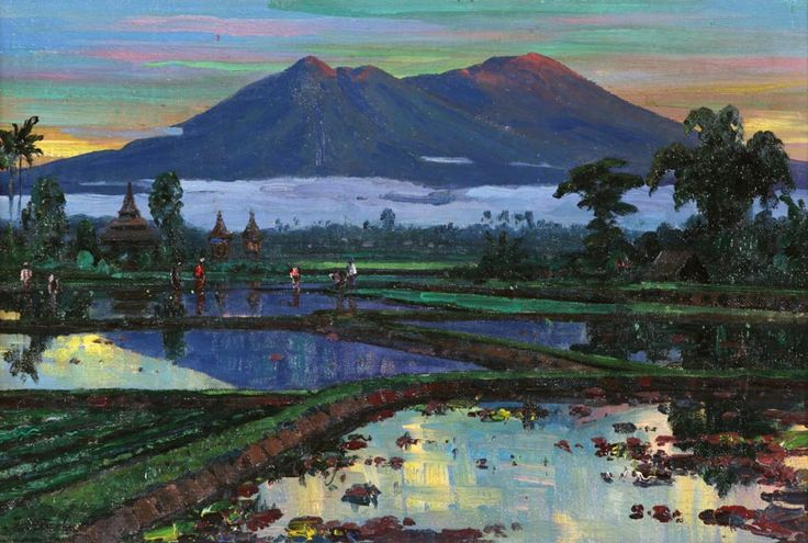 Leo Eland (Java, 1884 – 1952) - Farmers Working on Ricefields in Sumatra.