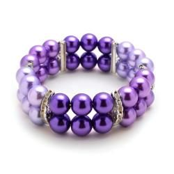 Let this versatile stretch bracelet adorn your look for a dressy night out on the town or out and about. The bracelet features Tri-Colored Purple glass pearl beads and crystal rhinestones filaments. S