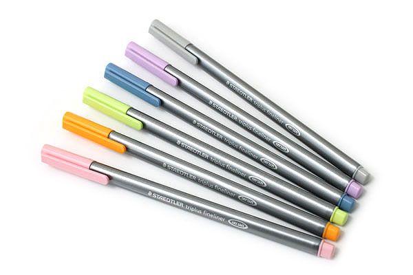 Staedtler Triplus Fineliner Pen - 0.3 mm - Pastel Colors - 6 Color Set - STAEDTLER 334SB6CS1