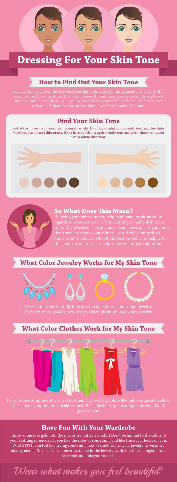 How to Dress For Your Skin Tone Infographic. Knowing what