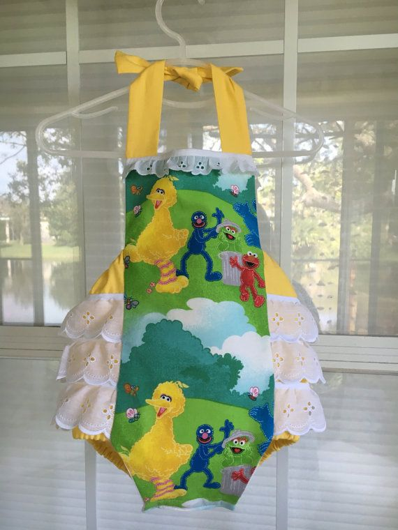 Elmo, Big Bird, and Cookie Monster - Baby Girl Sunsuit Romper Bubble with Ruffles, Sesame Street Park Theme Birthday