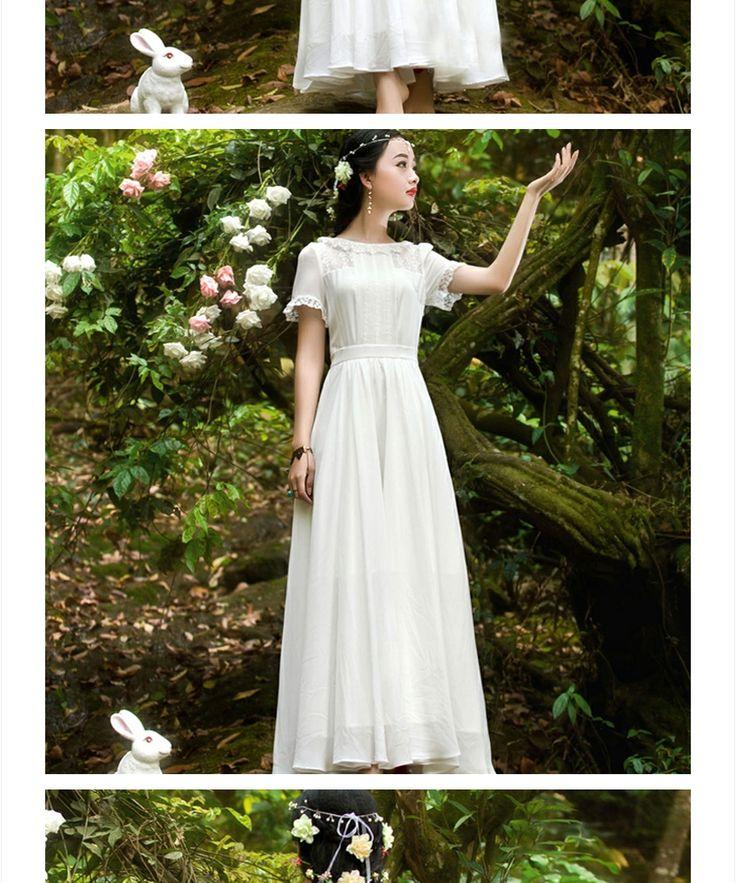 원피스/ 레이스 여자 빈티지 큰 2015 가을 Vestidos 여성 짧은 소매 흰색 우아한 맥시 드레스 스윙 롱 시폰 원피스 : 베스트 바이어1