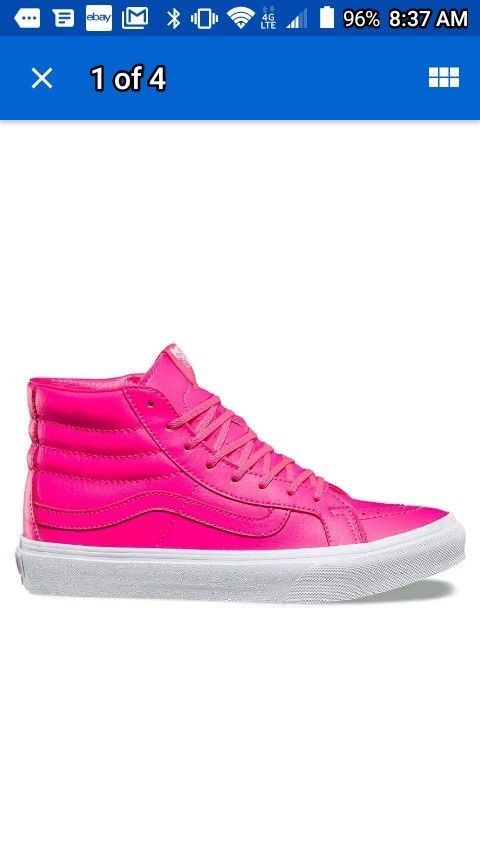 81b4642bd5 VANS Sk8 Hi Slim (Neon Leather) Neon Pink True White WOMEN S Skate Shoes 7   fashion  clothing  shoes  accessories  womensshoes  athleticshoes (ebay  link)