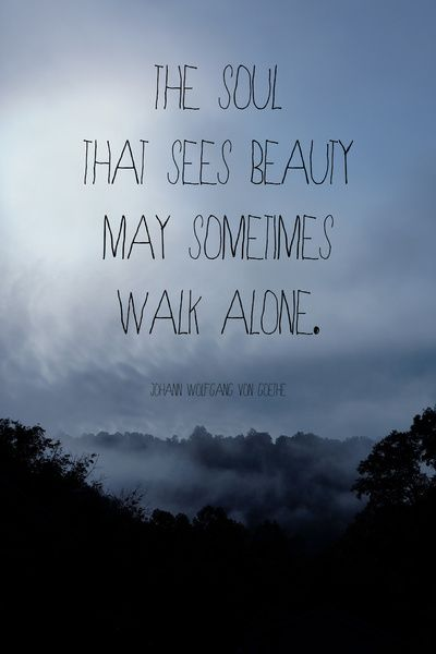 The soul that sees beauty may sometimes walk alone.For sure.what a wonder...