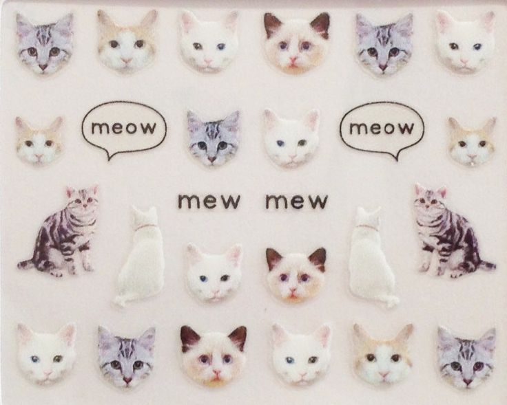 KItty Cat / Kitten / Nail Art Decals / Nail Art Decal Sticker Set /Nail Polish Stickers/ Nail Polish Planner Stickers by POPMAKE on Etsy https://www.etsy.com/listing/495797301/kitty-cat-kitten-nail-art-decals-nail