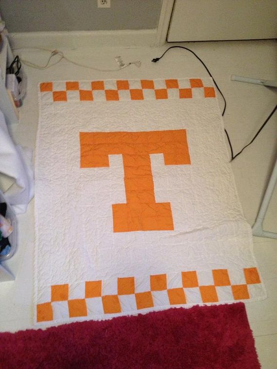 Baby University of Tennessee UT quilt College names, Tennessee and Quilt