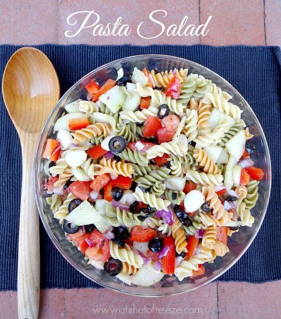 Easy recipe for pasta salad--a great staple recipe for potlucks, brunches, BBQ's, etc.
