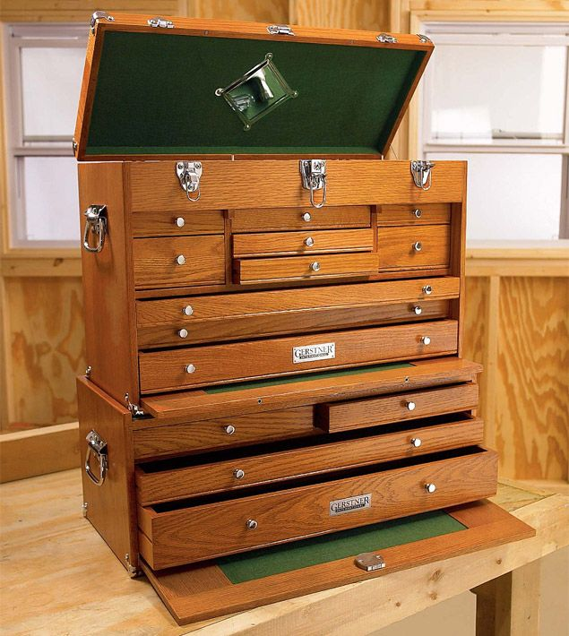 "Gerstner has been making so-called ""machinist's chests"" out of wood for more than a century now. Still built with tongue and groove joints and available in a variety of configurations, sizes, and finishes, they range in price from about 100 bucks to nearly 4,000, meaning it's easy to find one right for your needs and budget. Be sure to rest your coffee cup elsewhere, though"