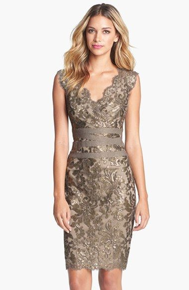 "Tadashi Shoji Embellished Metallic Lace Sheath Dress (Regular & Petite). Luminous sequins and metallic threads highlight the embroidered lace blossoming atop a scalloped sheath. Tonal bands crisscrossing the waist accentuate a feminine silhouette. 40"" regular length (size 8); 38"" petite length (size 8P). Hidden back-zip closure. Lined. 60% polyester, 40% nylon with 68% nylon, 32% spandex contrast. Dry clean. By Tadashi Shoji; imported. Special Occasion."