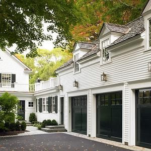 Patrick Ahearn Architecture - garages - black garage doors, garage doors, 3 car garage, 3 vehicle garage, garage apartment, garage apt, over the garage apt, above the garage apt,