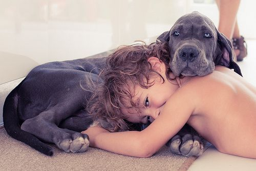 Adorable. I snuggle with my dog like this all the time :) unconditional love.