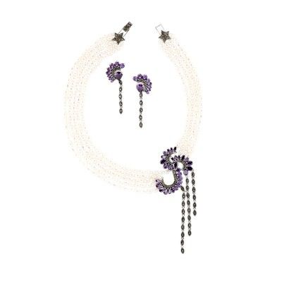 925 silver necklace with marcasite and amethyst cz & 925 silver earrings with marcasite and amethyst cz.