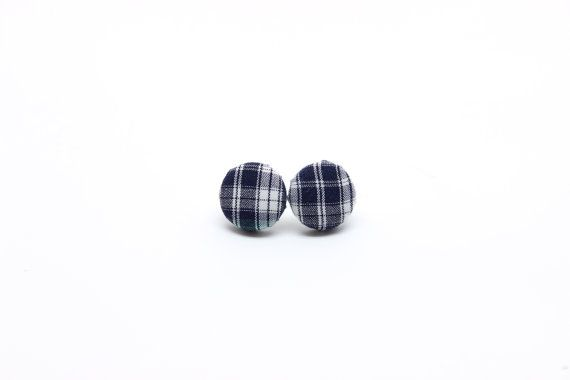 Plaid Fabric Button Earrings - Fabric Necklace - Button Earrings - Surgical Steel Earrings - Titanium Earrings - Plastic Earrings