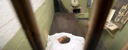 John Anglin's cell at the former Alcatraz Island federal prison greets visitors on Monday, June 11, 2012, in the San Francisco Bay. (REUTERS/Noah Berger)