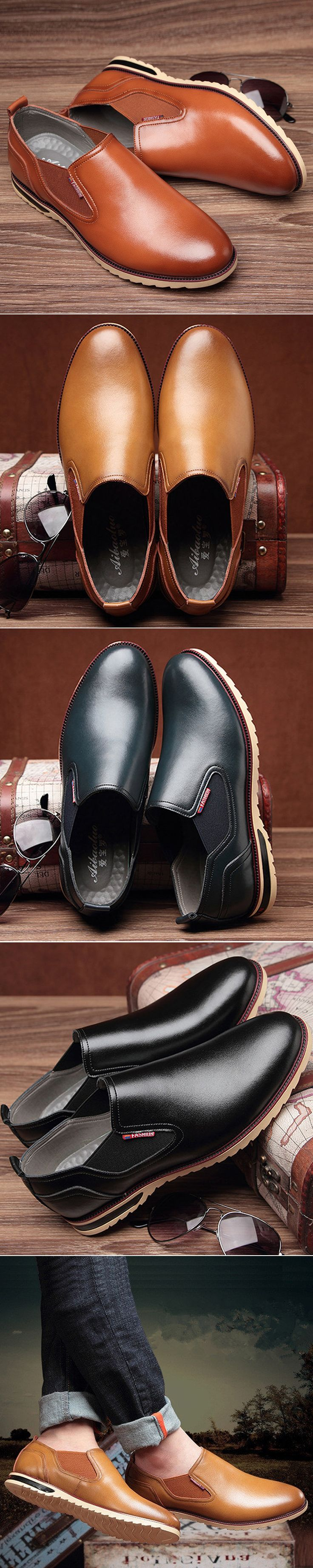 Men Retro Pointed Toe Elastic Panels Slip On Business Casual Shoes