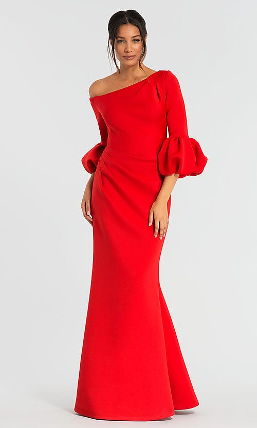 77795191c2 Image of bubble-sleeve long red MOB dress by Jovani. Style  JO-39739 Front  Image