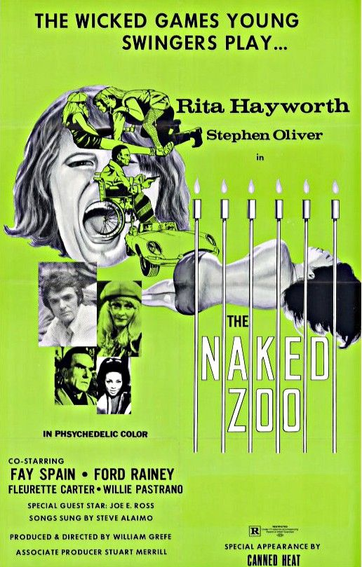 //  William Grefé's The Naked Zoo -- filmed as The Grove in 1969 but not distributed in the U.S. for another two years, opening in Lima, Ohio, on May 12, 1971 — is memorable for being the penultimate film appearance of former glamor girl and Hollywood starlet Rita Hayworth, who was 51 years old at the time. It's now streaming on Night Flight Plus in our Something Weird collection.   Grefé's original 99-minute version of the colorfully lurid exploitation sex/drugs&#...