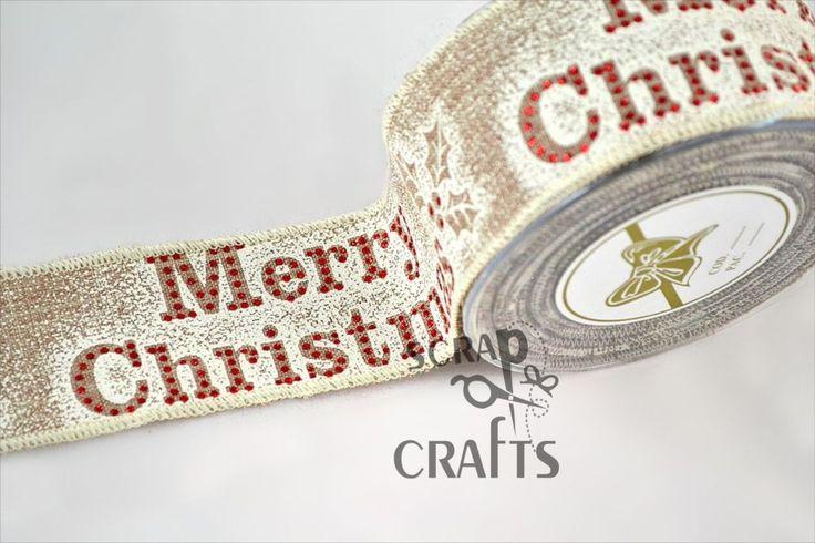 Χριστουγεννιάτικη+πολυεστερική+κορδέλα+χε+χρυσό+χρώμα+με+κόκκινο+στρασάτο+Merry+Christmas..+Κατάλληλη+για+χριστουγεννιάτικη...