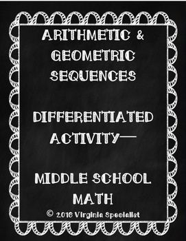 This activity requires students to determine if a given sequence is arithmetic, geometric, or neither (they will use colors to do this).  After that they will then determine the common difference (for arithmetic sequences) or the common ratio (for geometric sequences).Two versions of this activity are included, version one just has students working with numbers in the sequences that are positive, whereas version two is more challenging since it has both negative and positive numbers in the…