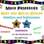Help reinforce the math properties of addition-commutative, associative, and identity and subtraction rules of zero by using this math center in yo...