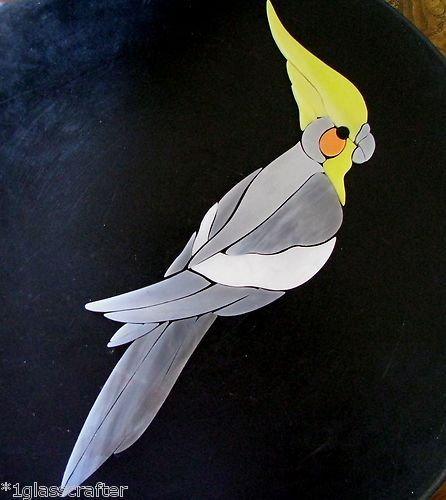 Cockatiel precut stained glass mosaic art kit. Many tropical birds and parrots selling on ebay.
