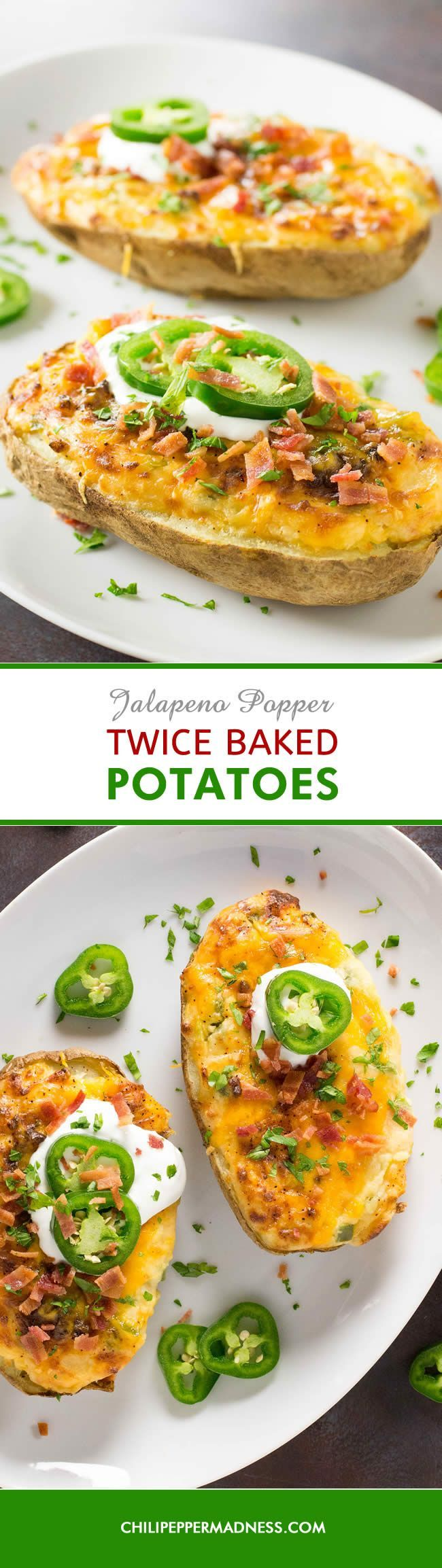 Jalapeno Popper Twice Baked Potatoes - The ultimate side dish recipe - baked potatoes mashed with cream cheese, cheddar and jalapeno pepper, stuffed into a potato shell and baked to perfection, topped with jalapeno slices. It's a mashup recipe - jalapeno poppers and twice baked potatoes. Addictive!