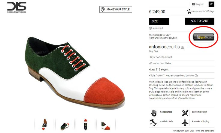 Right Shoes suggests you the right size when buying DIS - Design Italian Shoes online!
