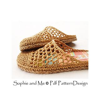 Basic crochet slippers attached Tailored Cord-Soles!