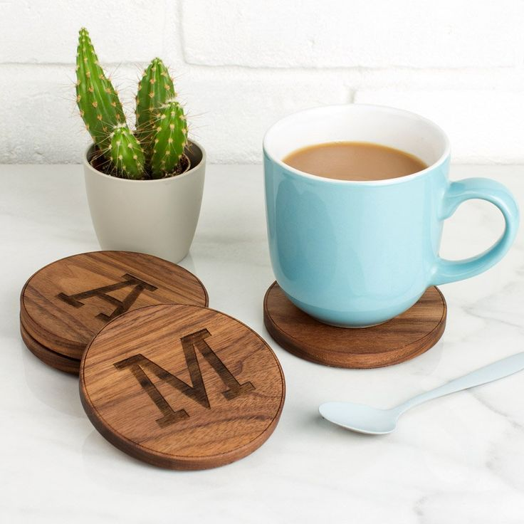 Personalised Wood Coaster Gift | Create Gift Love £12  Bring some fun to your table top with these Initial Wood Coasters. The perfect gift for a new home, birthday, family or just because.  http://www.creategiftlove.co.uk/collections/personalised-wood-coasters/products/personalised-wood-initials-coasters  #personalisedgifts #coasters #creategiftlove