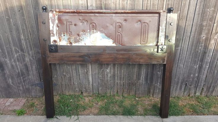 DIY one of a kind Ford tailgate headboard by Vintage Headboards  www.vintageheadboards.net I've always wanted to make a custom tailgate headboard but could neve…