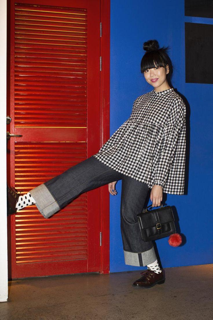 Susie Lau | #susiebubble | MOQ315_W3436_DenimOrig_013 | gingham/black denim