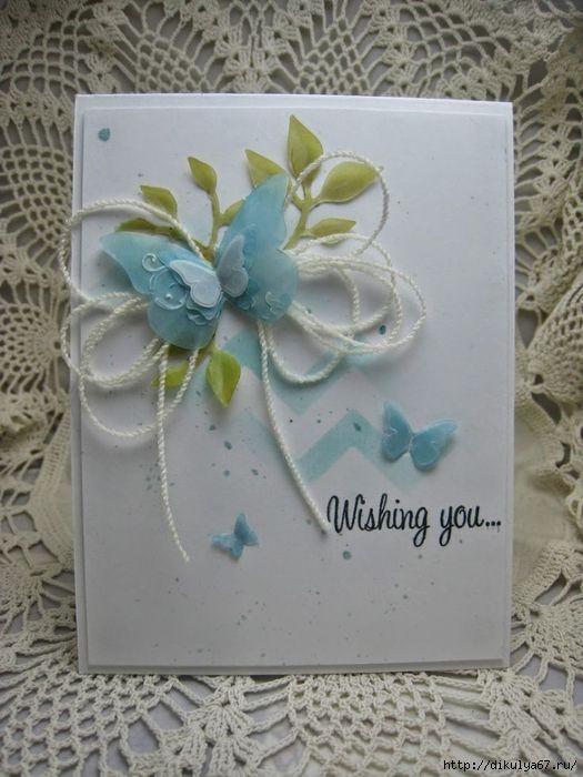 Открытки своими руками с цветами и бабочками, днем рождения