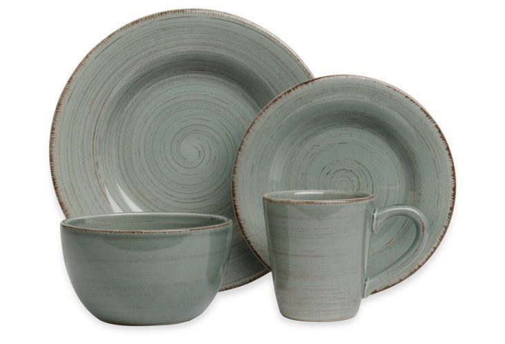 16 Pc Rustic Dinnerware Set Slate Blue House