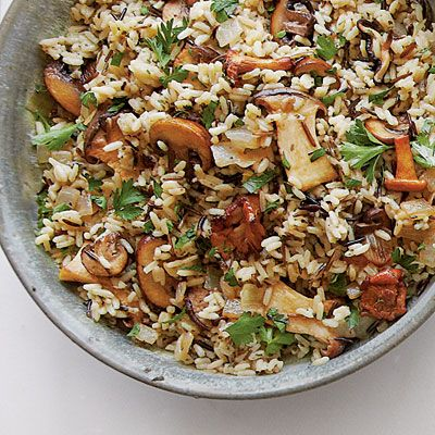Wild Rice with Mushrooms | A mixture of sautéed mushrooms, onions, and Marsala up the ante of packaged wild rice. #Thanksgiving