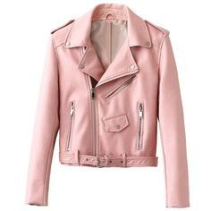 Into The Deep Leather jacket (135 CAD) ❤ liked on Polyvore featuring outerwear, jackets, tops, pink, pink jacket, real leather jackets, pink leather jacket, red leather jacket and leather jackets